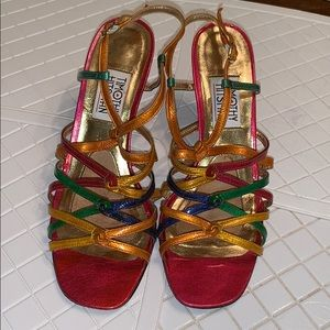 Vtg Timothy Hitsman multi colored strappy heels